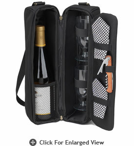 Picnic at Ascot  Sunset Deluxe Wine Carrier for 2  Black/Gingham