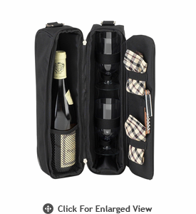 Picnic at Ascot  Sunset Deluxe Wine Carrier for 2  Black w/London Plaid