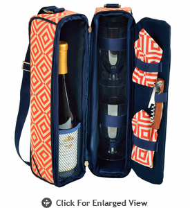 Picnic at Ascot  Sunset Deluxe Wine Carrier for 2  Orange/Navy