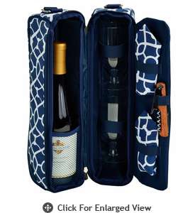 Picnic at Ascot  Sunset Deluxe Wine Carrier for 2  Trellis Blue