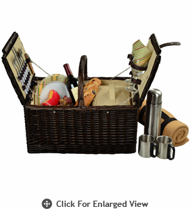 Picnic at Ascot Surrey Picnic Basket for 2 Coffee Set w/ Blanket