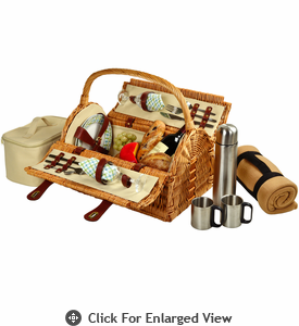 Picnic at Ascot Sussex Picnic Basket for 2 Coffee Set w/ Blanket Gazebo