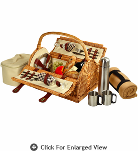 Picnic at Ascot Sussex Picnic Basket for 2 Coffee Set w/ Blanket London Plaid