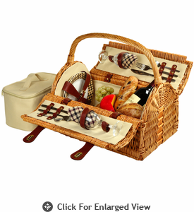 Picnic at Ascot Sussex Picnic Basket for 2 London Plaid