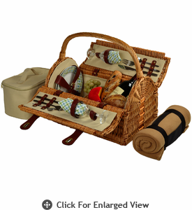 Picnic at Ascot Sussex Picnic Basket for 2 w/ Blanket