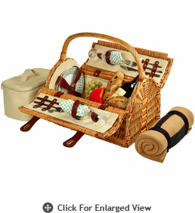 Picnic at Ascot Sussex Picnic Basket for 2 w/ Blanket Gazebo
