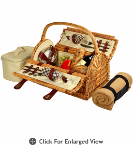 Picnic at Ascot Sussex Picnic Basket for 2 w/ Blanket London Plaid