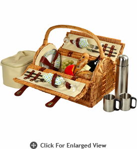 Picnic at Ascot Sussex Picnic Basket for 2 w/ Coffee Service Gazebo