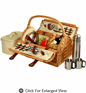 Picnic at Ascot Sussex Picnic Basket for 2 w/ Coffee Service London Plaid
