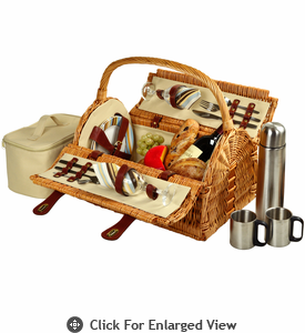 Picnic at Ascot Sussex Picnic Basket for 2 w/ Coffee Service Santa Cruz