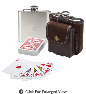 Picnic at Ascot Travel Hip Flask w/ Playing Cards & Case Brown