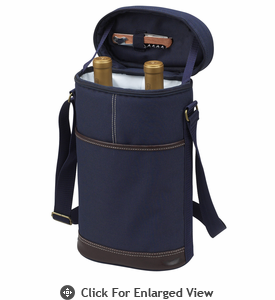 Picnic at Ascot Travel Two Bottle Wine Tote Navy Blue