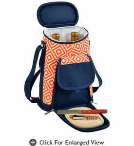 Picnic at Ascot Two Bottle Insulated Wine Tote Cheese Set Diamond Orange