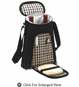 Picnic at Ascot Two Bottle Insulated Wine Tote Cheese Set London Plaid