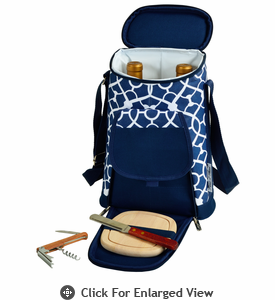 Picnic at Ascot Two Bottle Insulated Wine Tote Cheese Set Navy / Trellis Blue