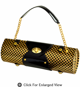 Picnic at Ascot Wine Carrier Purse Gold/Black