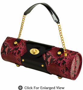 Picnic at Ascot Wine Carrier Purse Pink Snake