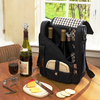 Picnic at Ascot Wine Cheese Cooler Bag Glasses for 2 Black/Plaid