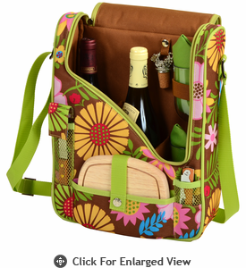 Picnic at Ascot Wine Cheese Cooler Bag Glasses for 2 Floral