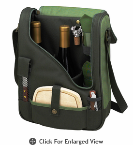 Picnic at Ascot Wine Cheese Cooler Bag Glasses for 2 Forest Green