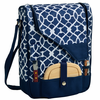 Picnic at Ascot Wine Cheese Cooler Bag Glasses for 2 Navy / Trellis Blue