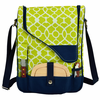 Picnic at Ascot Wine Cheese Cooler Bag Glasses for 2 Navy / Trellis Green