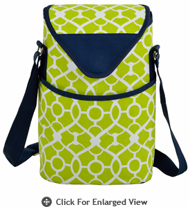 Picnic at Ascot Two Bottle Cooler Tote w/ Shoulder Strap Trellis Green