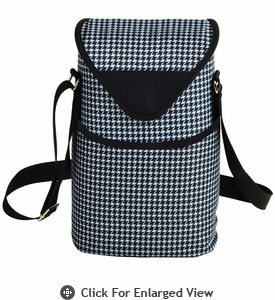 Picnic at Ascot Two Bottle Cooler Tote w/ Shoulder Strap Houndstooth