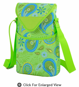 Picnic at Ascot Two Bottle Cooler Tote w/ Shoulder Strap Paisley Green