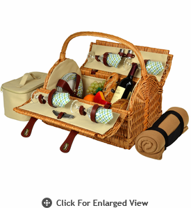 Picnic at Ascot Yorkshire Picnic Basket for 4  w/  Blanket Gazebo