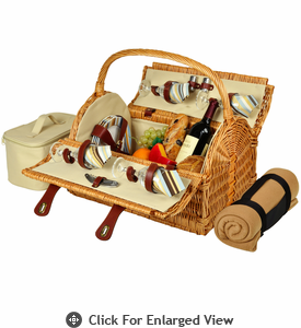 Picnic at Ascot Yorkshire Picnic Basket for 4  w/  Blanket Santa Cruz