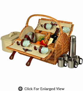 Picnic at Ascot Yorkshire Picnic Basket for 4  w/  Coffee Gazebo