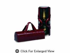Picnic Plus Carlotta Wine Bottle Clutch Merlot Croc