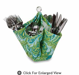 Picnic Plus Decka Utensil Caddy Green Paisley