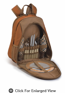 Picnic Plus Fairmont 2 Person Picnic Backpack Brown