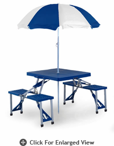 Picnic Plus Folding Table w/ Umbrella Blue
