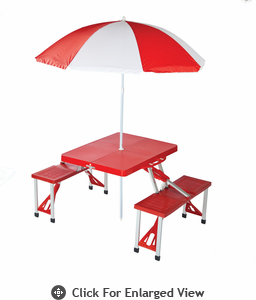 Picnic Plus Folding Table w/ Umbrella Red