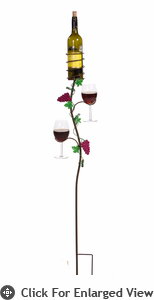 Picnic Plus Grapevine Wine Double Glass Holder Ground Stake  Vineyard