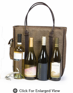 Picnic Plus Quad Bottle Wine Tote Greek Key