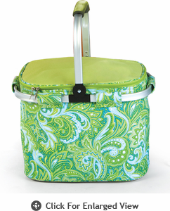 Picnic Plus Shelby Collapsible Market Tote Green Paisley