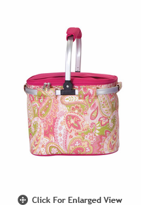 Picnic Plus Shelby Collapsible Market Tote Pink Paisley