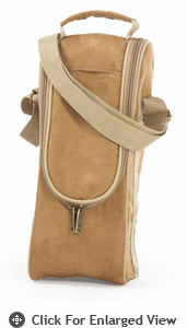 Picnic Plus Single Bottle Carrier  Camel Suede
