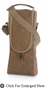 Picnic Plus Single Bottle Carrier Debossed Tan