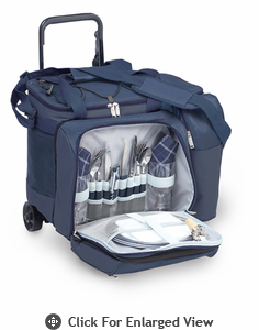 Picnic Plus Tango Trolly 2 Person Picnic Tote on Wheels Navy