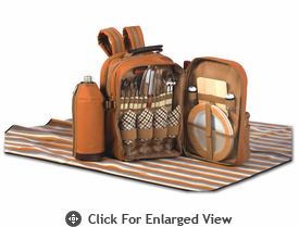 Picnic Plus Tremont 4 Person Picnic Backpack Brown