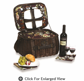 Picnic Plus Veneto 2 Person Picnic Basket  Eggplant Vineyard