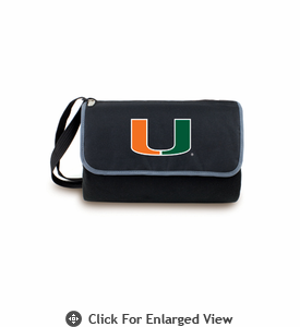 Picnic Time Blanket Tote - Black University of Miami Hurricanes