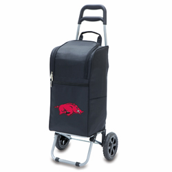 Picnic Time Cart Cooler Black University of Arkansas Razorbacks