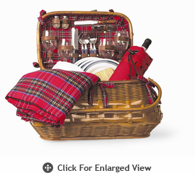 Picnic Time� Highlander Picnic Basket for 4 Red Tartan