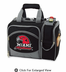 Picnic Time Malibu Digital Print - Black Miami University Red Hawks